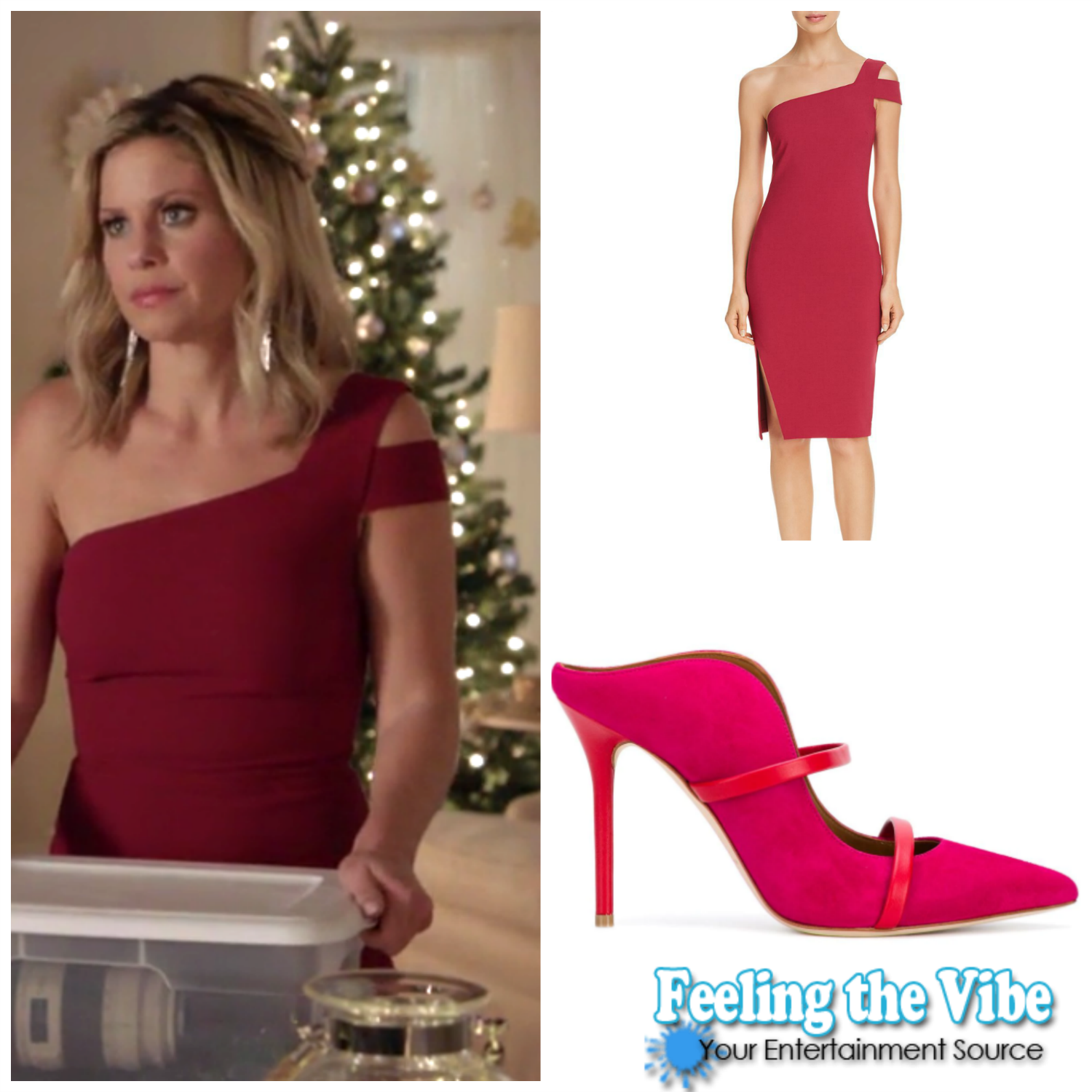 """Candace Cameron Bure's Red One Shoulder Dress in """"A Shoe Addict's Christmas'"""