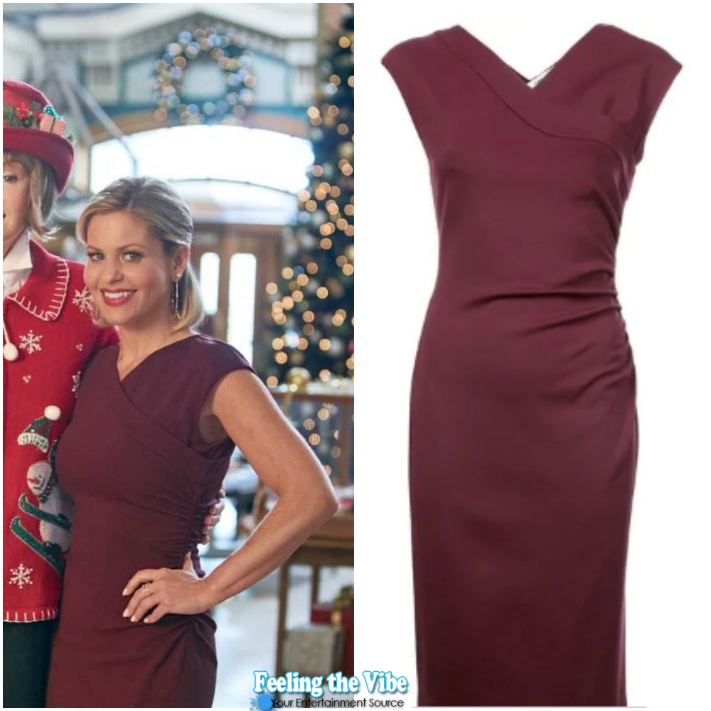 Candace Cameron Bure's Burgundy Dress from 'A Shoe Addict's Christmas'