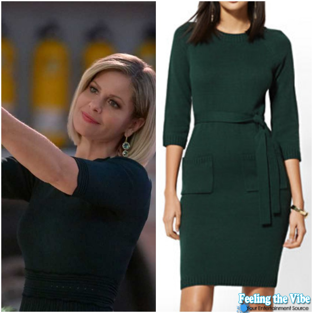 Candace Cameron Bure's Green Sweater Dress from 'A Shoe Addict's Christmas'
