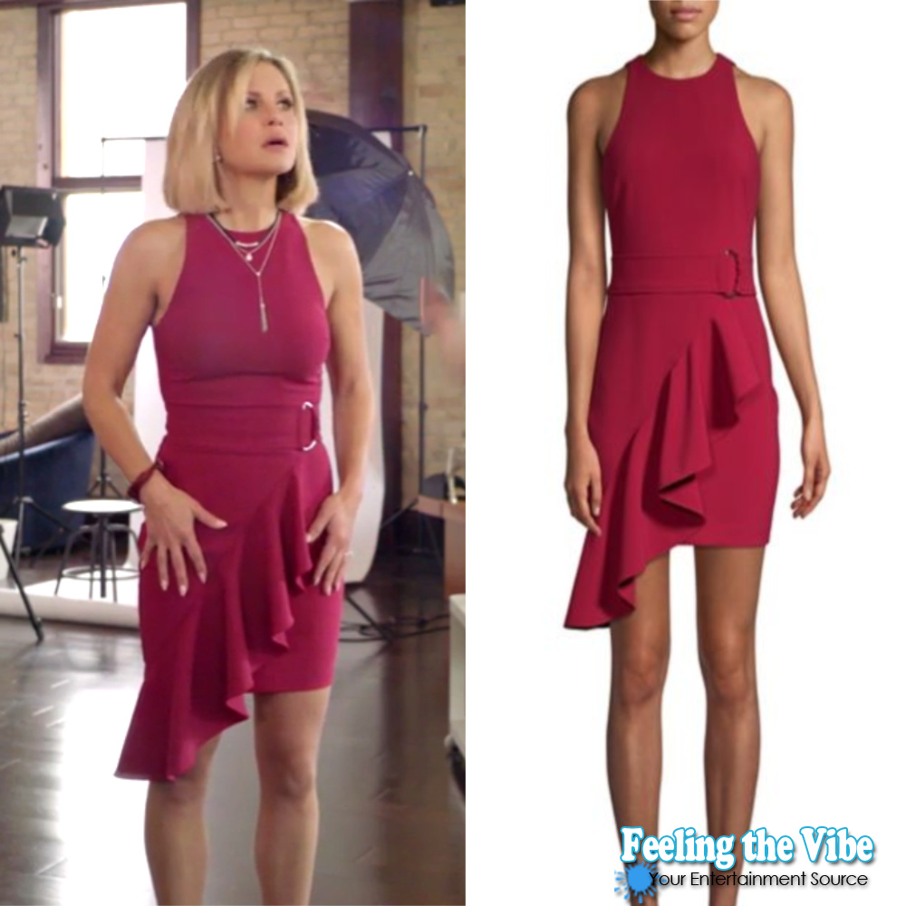 Candace Cameron Bure's Asymmetrical Red Dress from 'A Shoe Addict's Christmas'