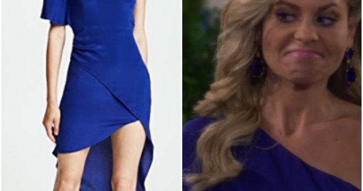 Blue one shouldered dress on Candace Cameron from 'Fuller House'
