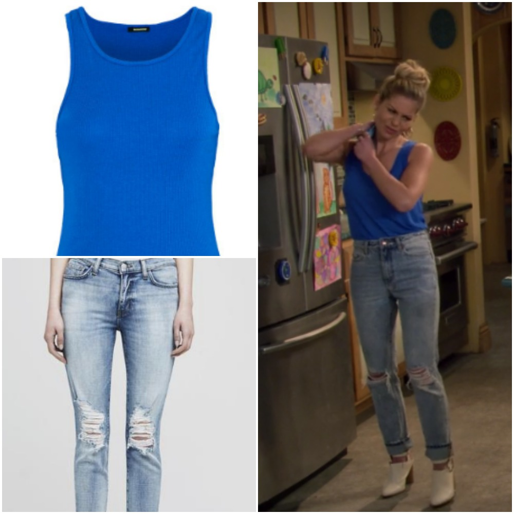 Blue Sleeveless Top and Ripped Jeans on DJ Fuller from 'Fuller House'