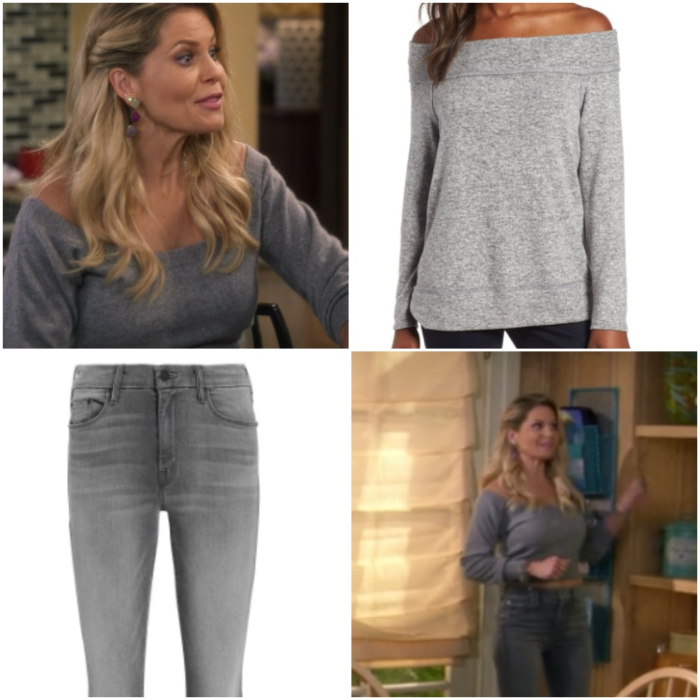 Grey Off the Shoulder Shirt and Gray Jeans on 'Fuller House'