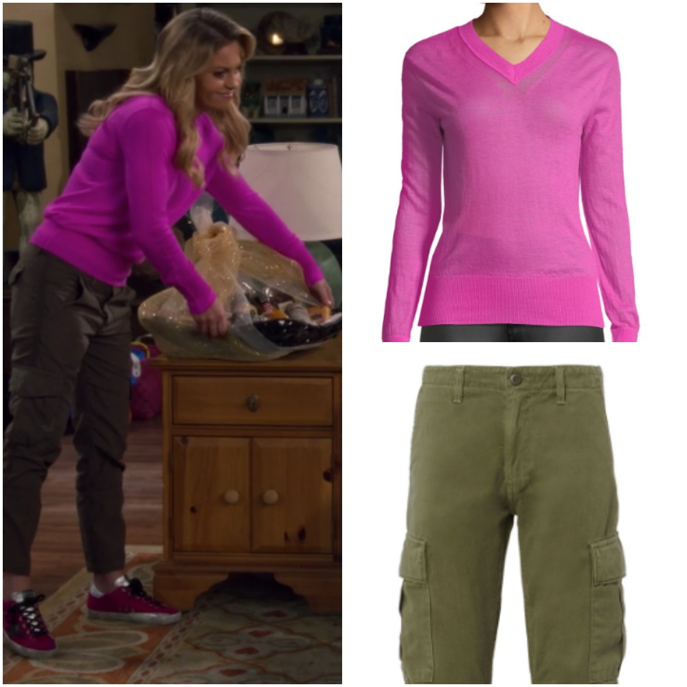 db19306694 Hot Pink Sweater and Green Cargo Pants on Candace Cameron from  Fuller House