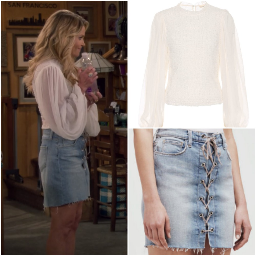 b4d4f9cb3b White Flowy Shirt and Laceup Jeans Skirt from Candace Cameron on  Fuller  House