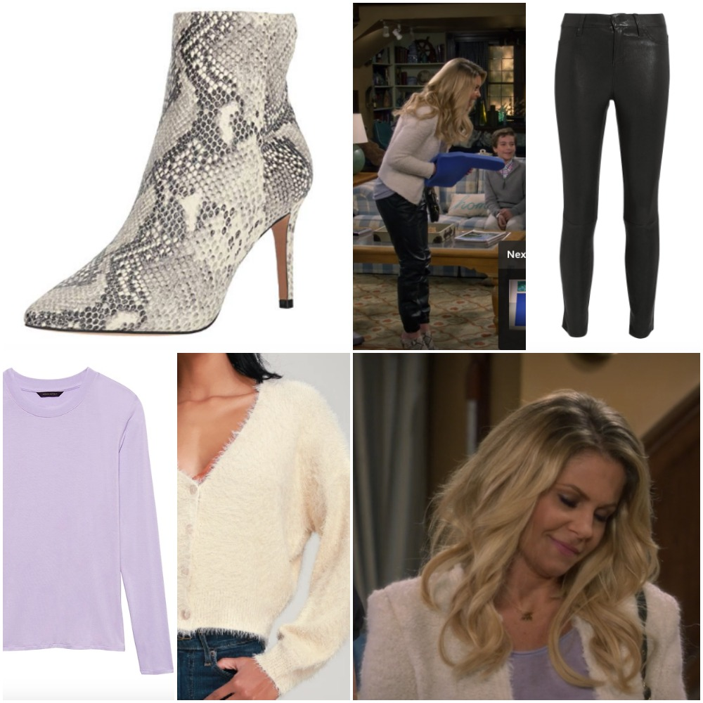 Lavender Shirt, Leather Pants and Snakeskin Boots from 'Fuller House' on DJ Fuller
