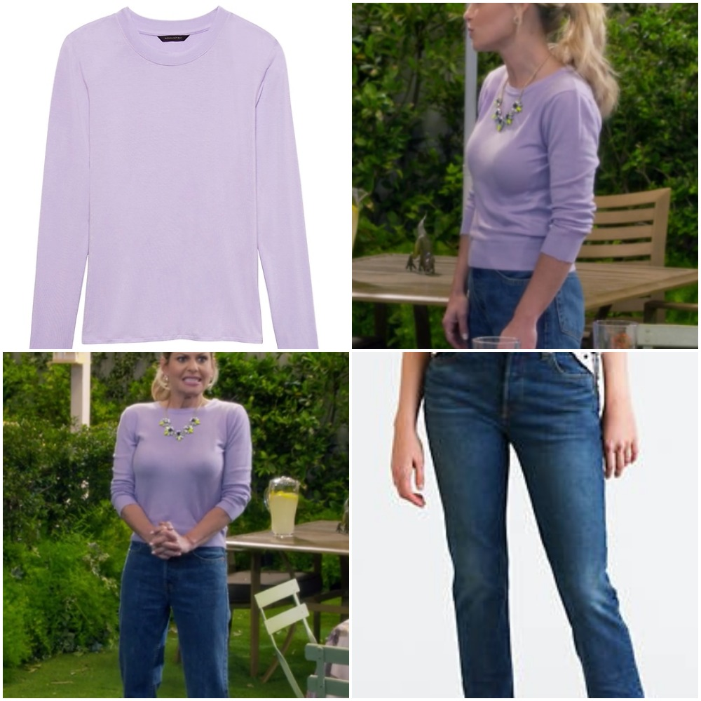 Lavender Shirt and Jeans on Candace Cameron from 'Fuller House'
