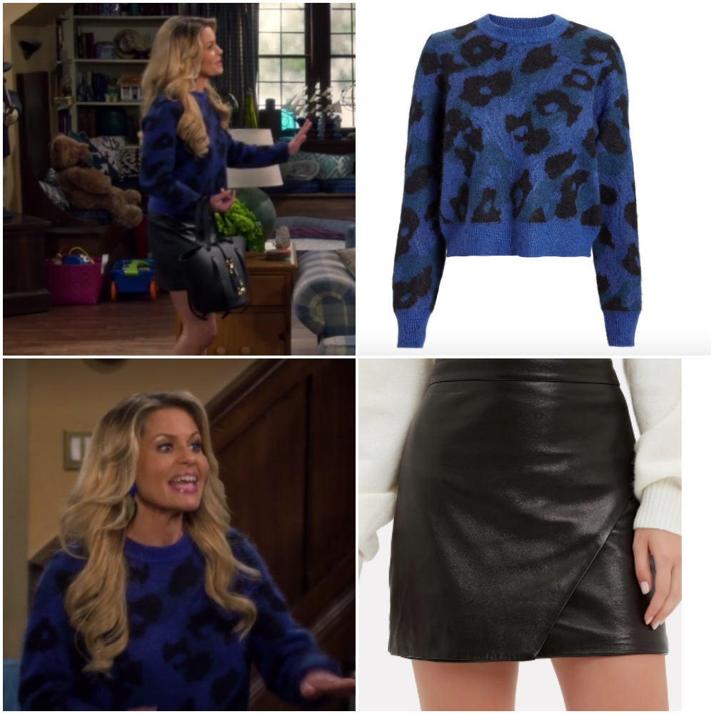 fa81ec25b0 Blue leopard sweater and leather skirt on DJ Fuller from  Fuller House