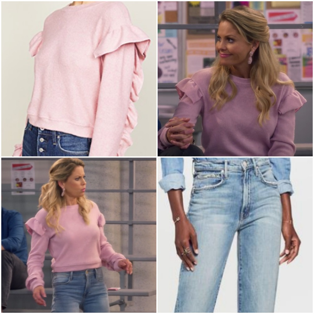 ba26e59a8f Mauve Ruffle Shirt and Light Blue Jeans on DJ Fuller from  Fuller House