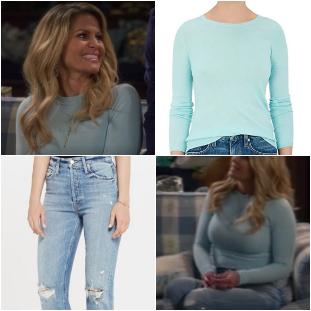15c56af764 Blue Mint Shirt and Ripped Jeans on Candace Cameron from  Fuller House