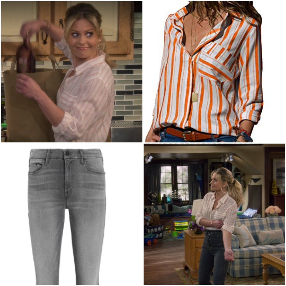 Orange and White Striped Shirt and Gray Jeans on Candace Cameron from 'Fuller House'