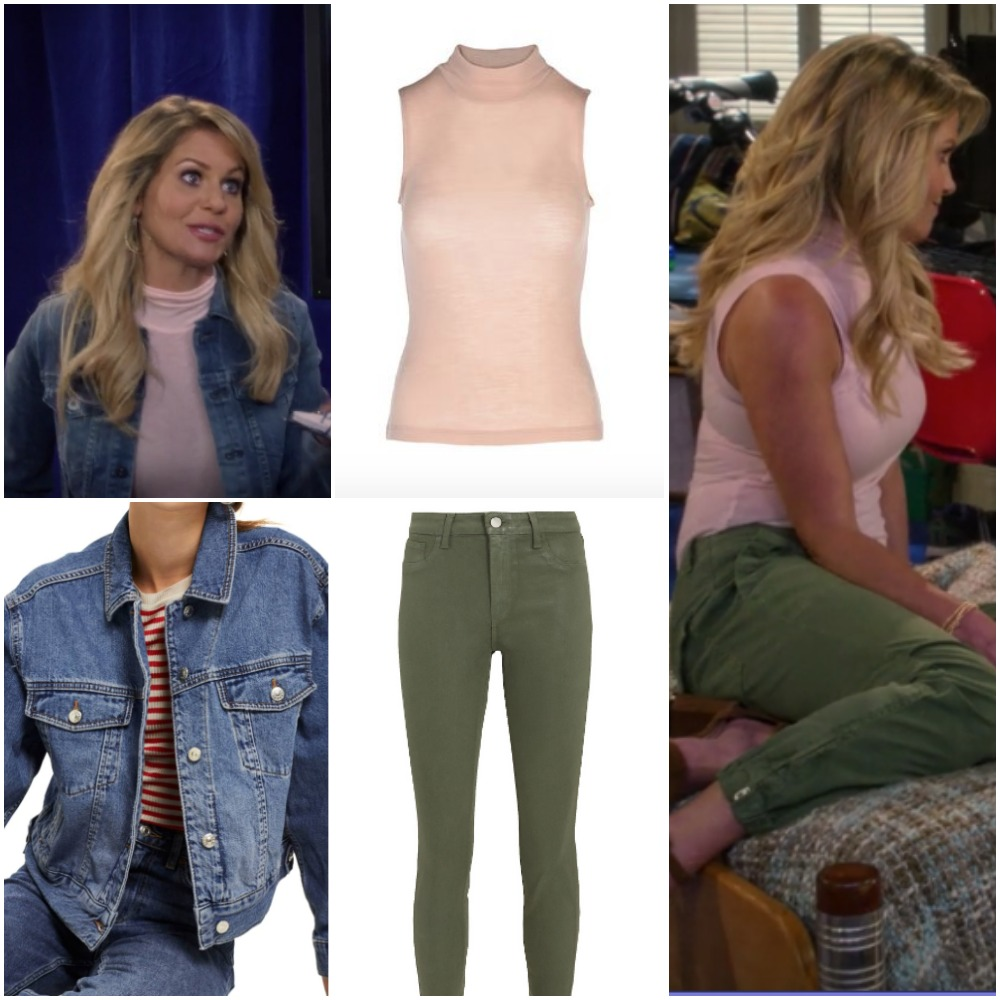 Pale Pink Shirt and Green Army Pants on DJ Fuller from 'Fuller House'
