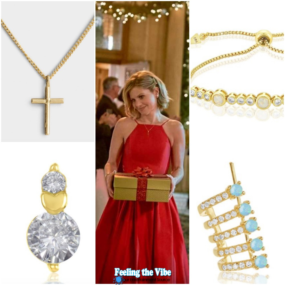 Candace Cameron's Gold Jewelry with Red Dress on 'A Shoe Addict's Christmas'