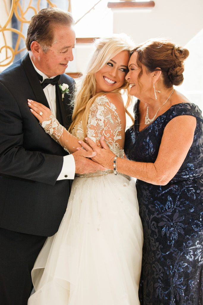 Sabrina Bryan with Parents Fred & Kathy on Wedding Day