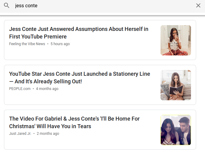 Jess Conte Article in Google News