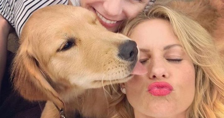 Candace Cameron Bure and Cosmo the Dog from Fuller House