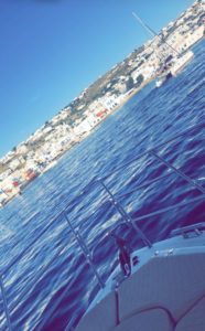 Juliette Porter Snapchat from a riverboat in Greece.