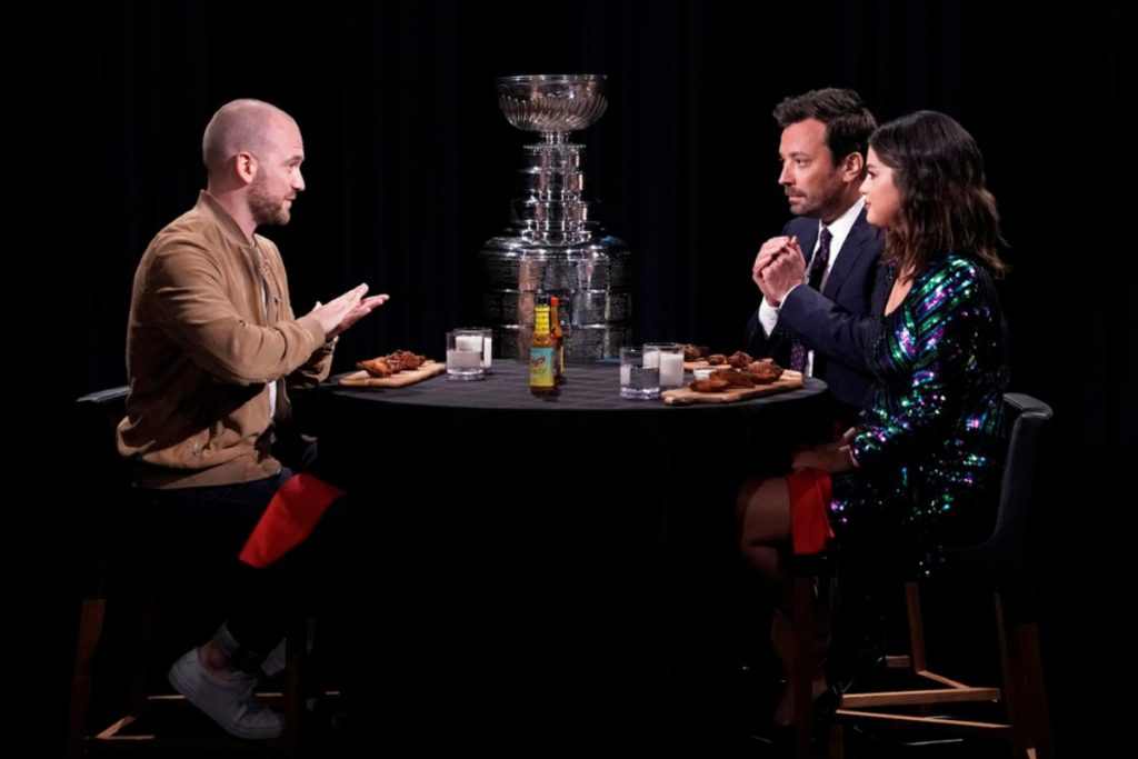 Selena Gomez and Jimmy Fallon try hot salsa on The Tonight Show - June 2019
