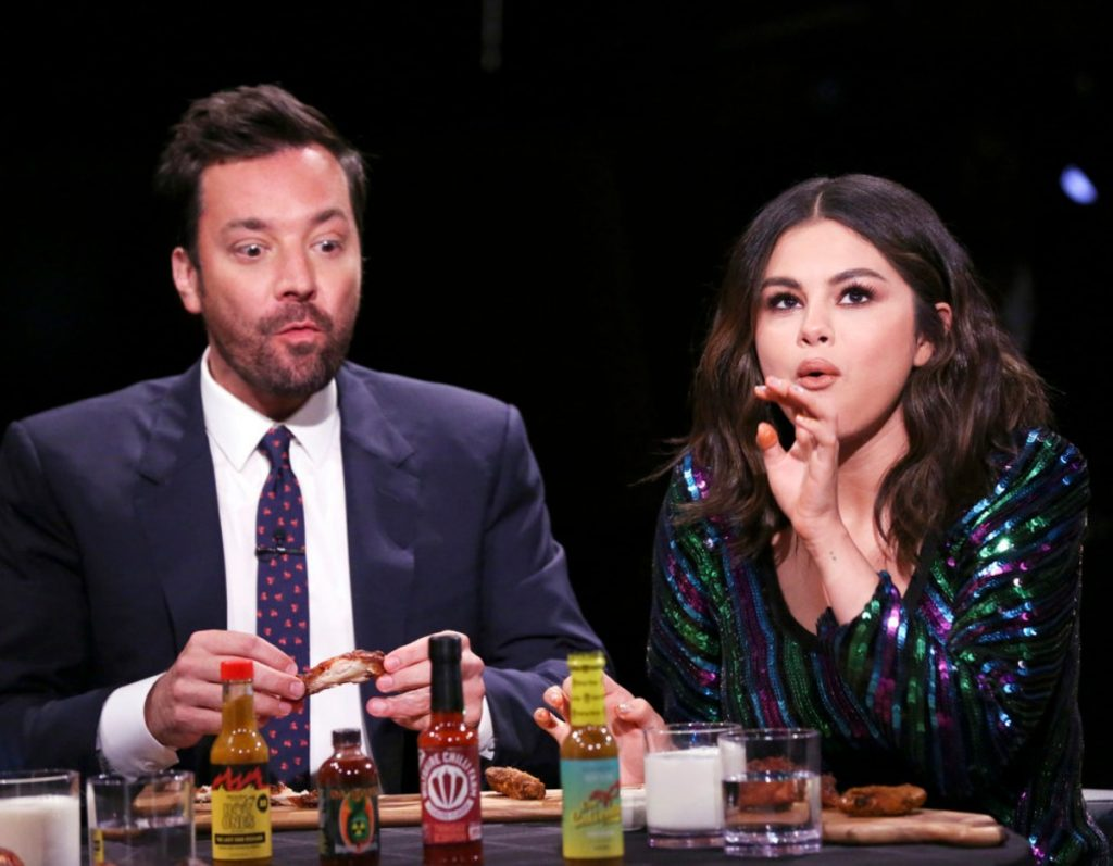 Selena Gomez Stuns as She Tries Spicy Wings on 'Jimmy Fallon' Tonight – See Photos
