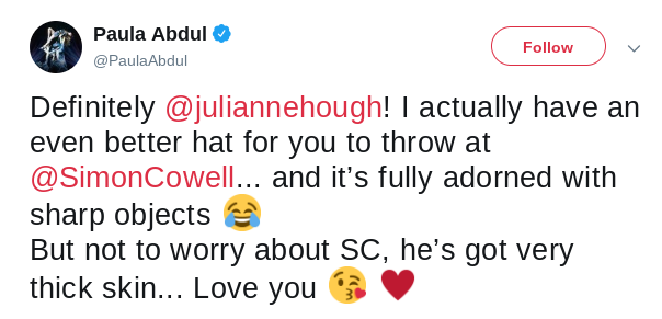 Paula Abdul tweets to Julianne Hough about Simon Cowell