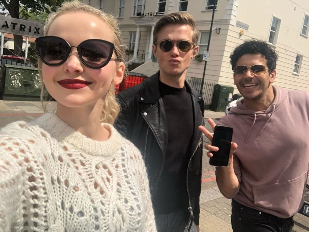 Dove Cameron with co-stars of Light in the Piazza Musical on streets of London