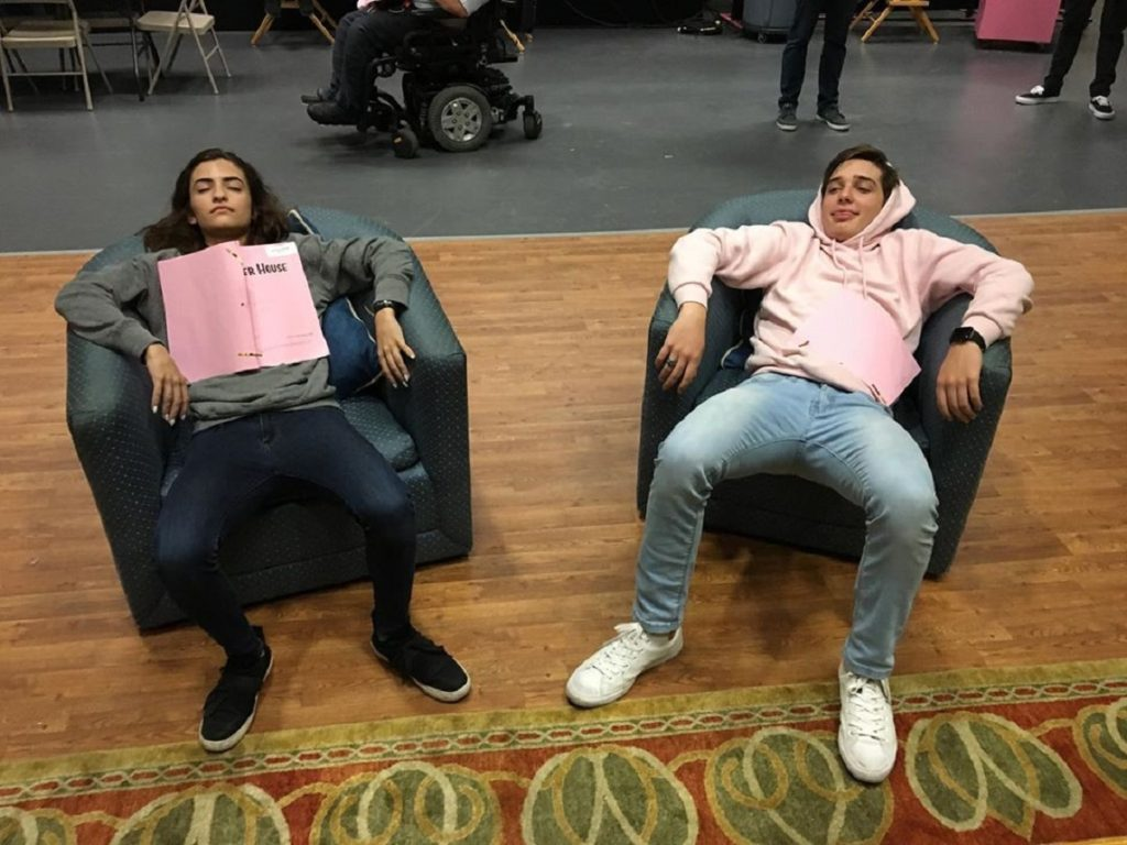 MICHAEL CAMPION AND SONI NICOLE ON SET OF 'FULLER HOUSE'