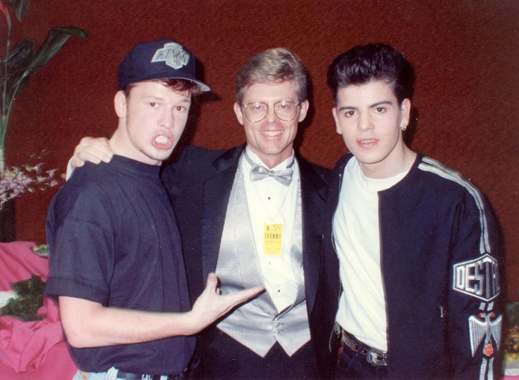 Donnie Wahlberg and Jordan Knight at the 1990 Grammys