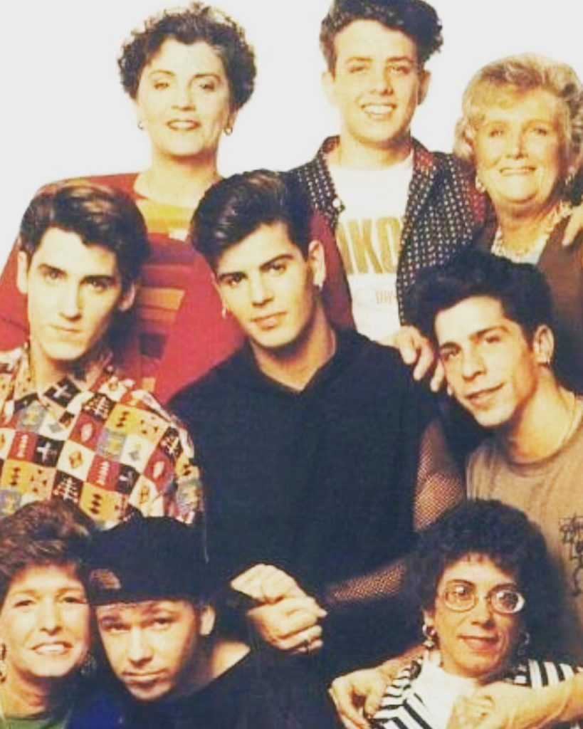 Members of the NKOTB with their mothers
