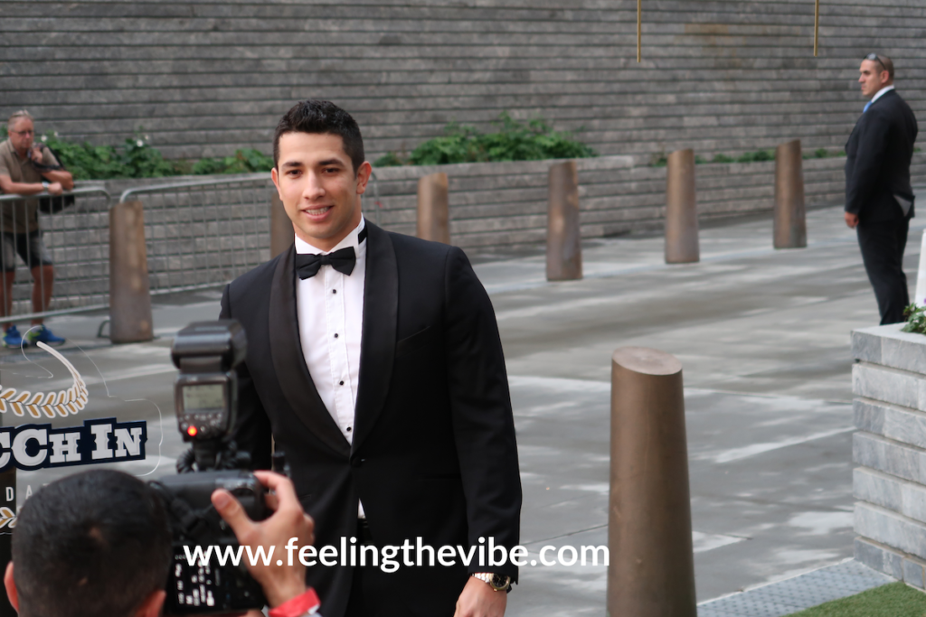 Luis Cessa, pitcher for the New York Yankees at the red carpet for the Legaccy Pitcchin Foundation.