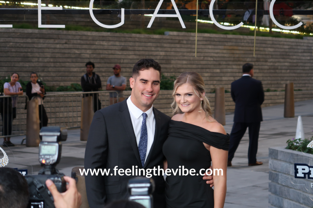 Mike Tauchman and wife Eileen at the CC Sabathia Gala 2019