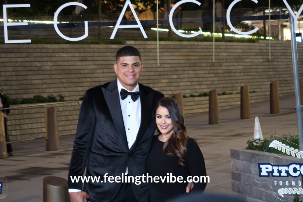 Dellin Betances and wife on the red carpet at the CC Sabathia Legaccy Pitcchin Foundation Gala in New York City on September 16, 2019.