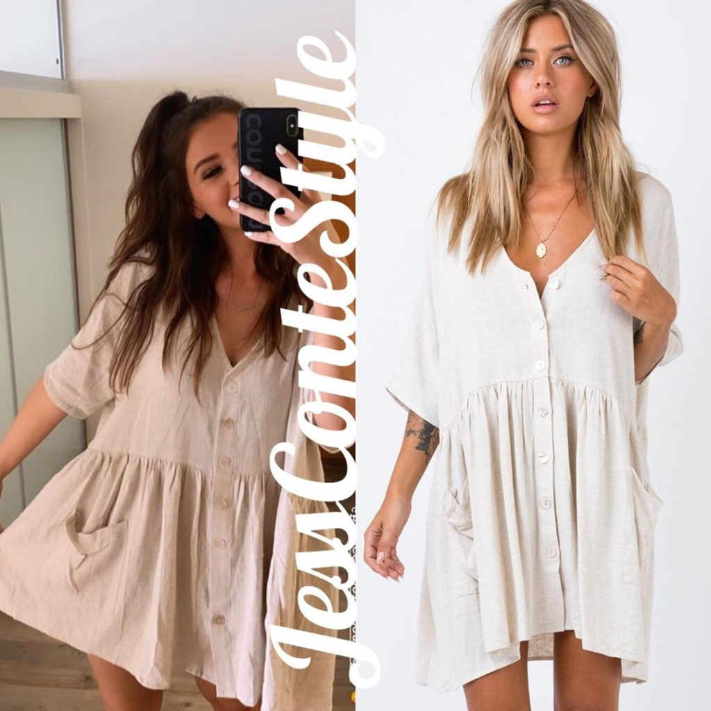 Jess Conte's White Dress Worn in Her Trip Home to Australia