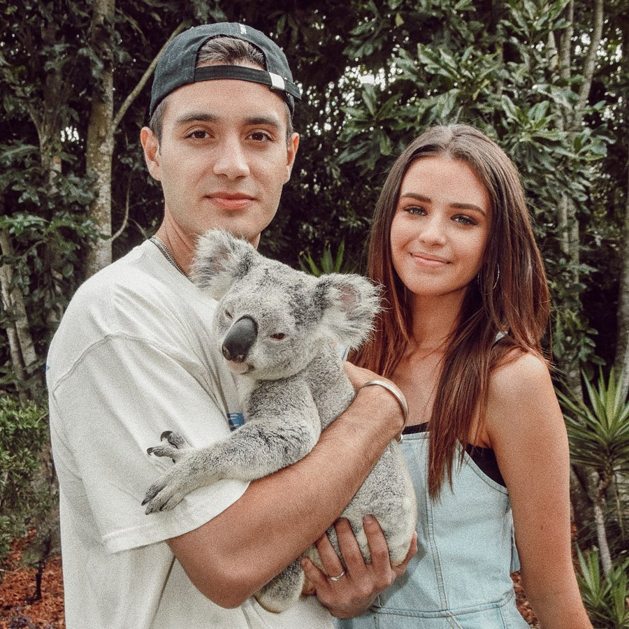 Jess Conte with her husband Gabriel in Australia with a kaola bear