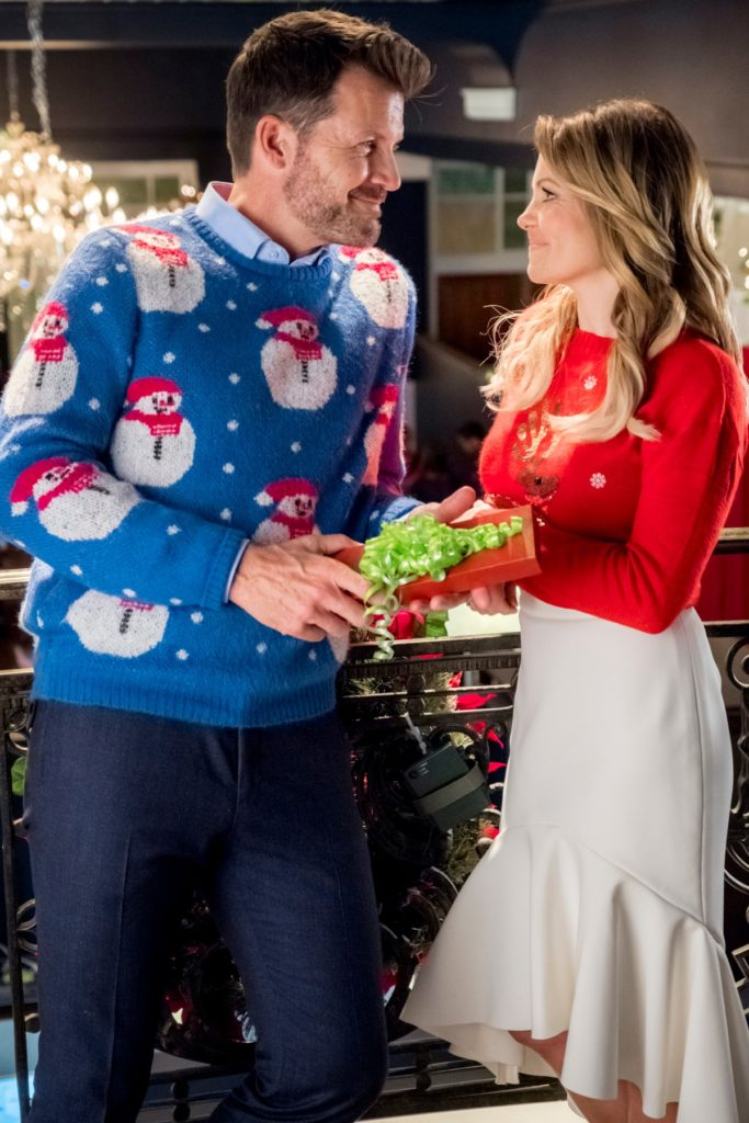 Candace Cameron Bure Switched for Christmas, Red Sweater and White Skirt