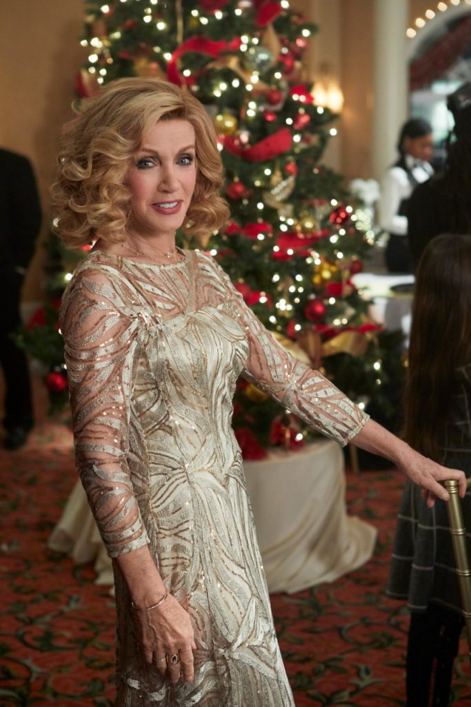 Donna Mills wearing dress in Christmas Wishes & Mistletoe Kisses