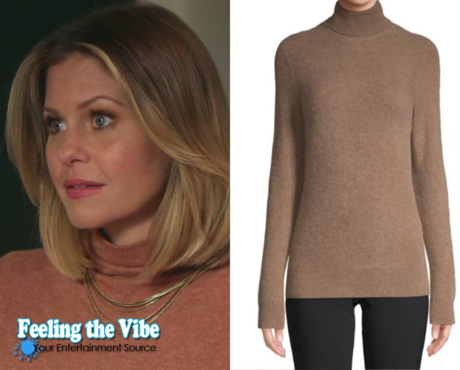 Candace Cameron's cashmere brown sweater in 'Christmas Town' on Hallmark