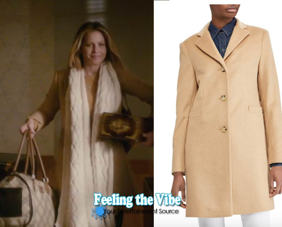 Candace Cameron's tan coat in 'Christmas Town' on Hallmark Channel 2019