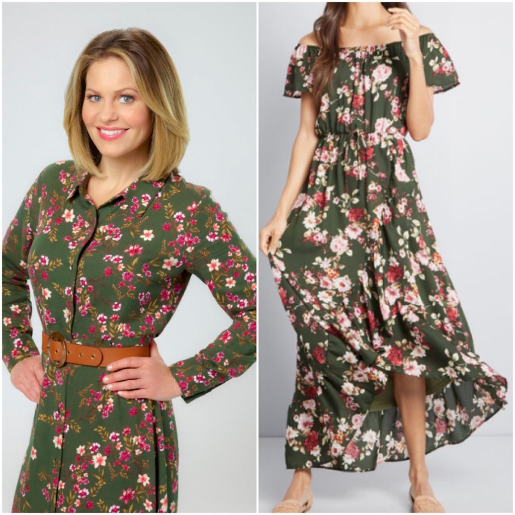 Candace Cameron Bure, 'Christmas Town' Olive Green Floral Dress