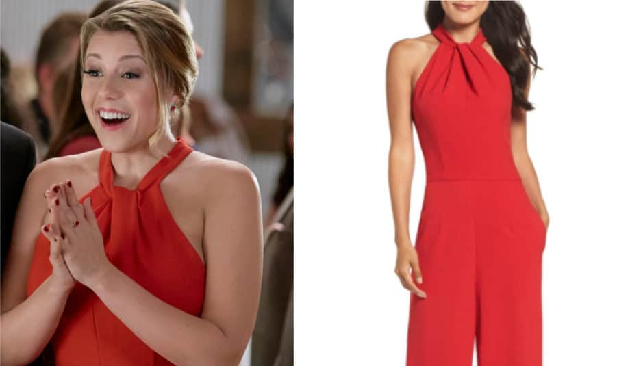 Jodie Sweetin's red jumpsuit from Merry & Bright