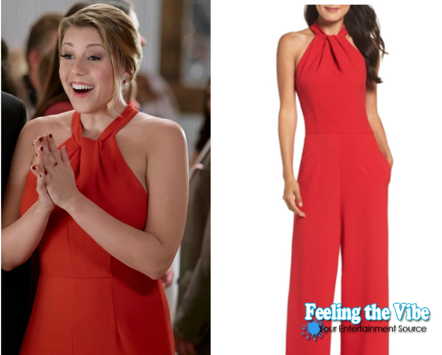 Red jumpsuit on Jodie Sweetin for Merry & Bright movie