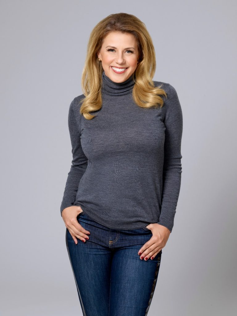 """Jodie Sweetin in """"Merry and Bright"""" gray turtleneck"""