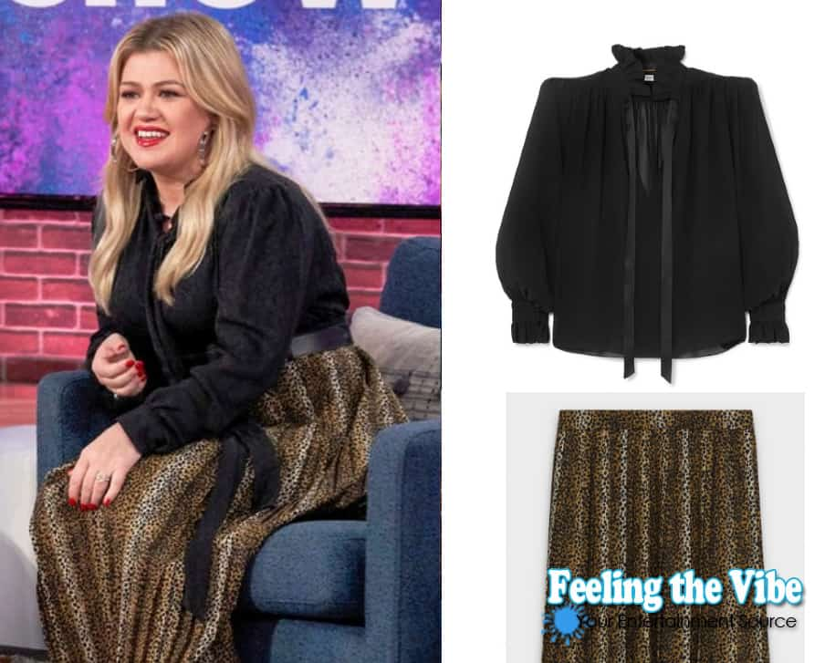 Kelly Clarkson's black blouse and leopard skirt on the Kelly Clarkson Show October 17th episode