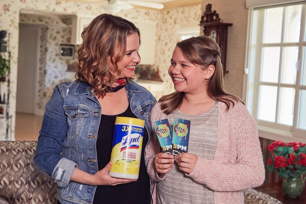 Andrea Barber in a Lysol ad with her daughter Felicity.