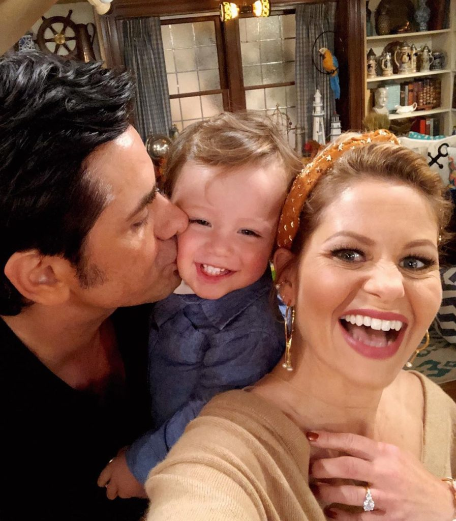 John Stamos, Billy Stamos, and Candace Cameron on the set of Fuller House