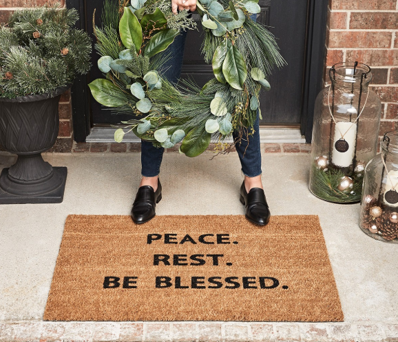Candace Cameron Bure's Peace, Rest and Be blessed doormat for sale.