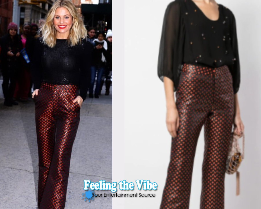 Candace Cameron Bure wearing red and black pants from Cynthia Rowley during press week 2019