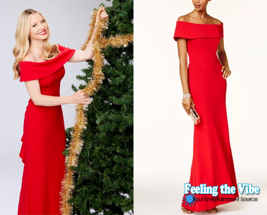 Christmas at Graceland: Home for the Holidays red off the shoulder dress