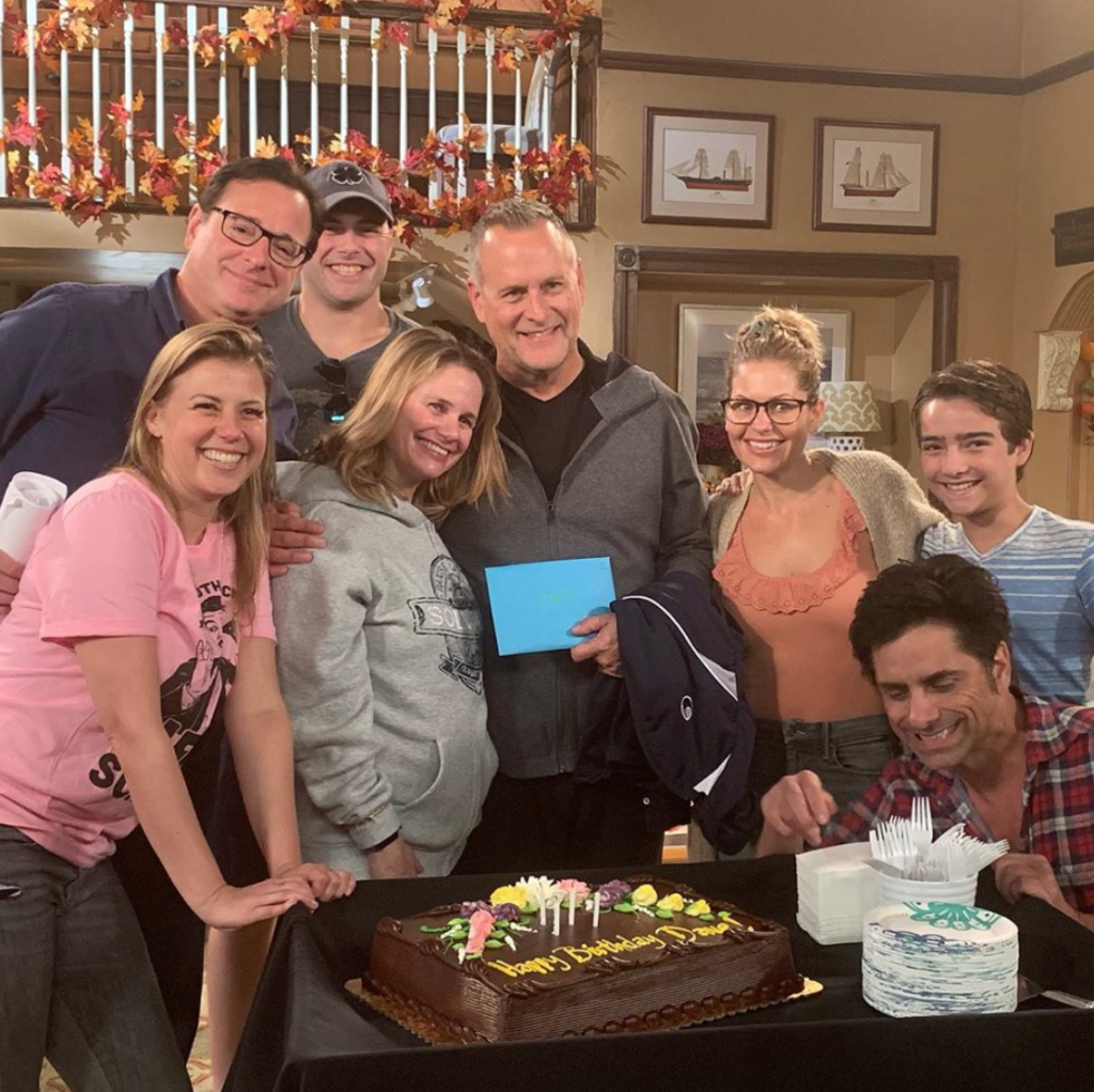 Elias Harger and the cast of Fuller House Season 6 for Dave Coulier's birthday
