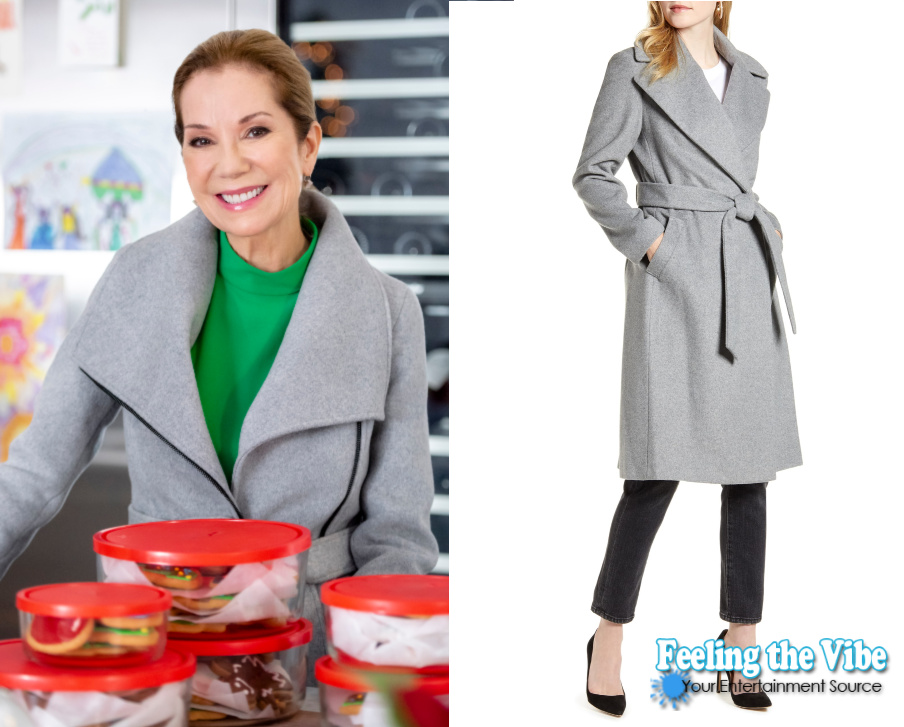 Kathie Lee Gifford in gray winter coat in Godwink Christmas movie