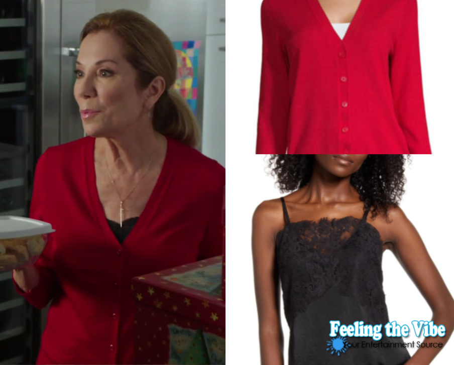 Kathie Lee's red sweater and black lace camisole in Godwink Christmas
